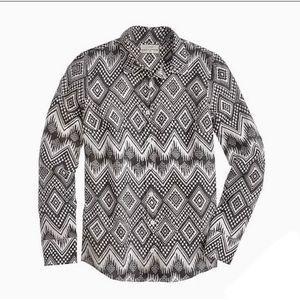 J Crew Linen Button Down Boy Shirt Diamond Ikat 0
